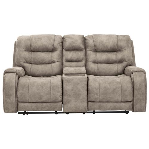 Ashley Furniture - Yacolt Power Reclining Console Loveseat with Power Headrest