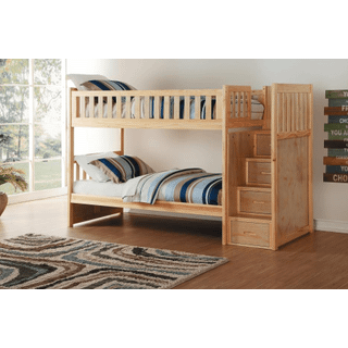 Bartly Bunk Bed Twin on Twin with Reversible Step Storage