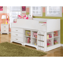 Lulu - White - Twin Loft Bed, Bin Storage with Bookcase