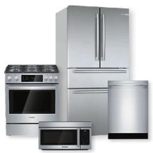 BOSCH 800 Series Stainless Steel French Door Refrigerator & Dual Fuel Slide-In Range Package