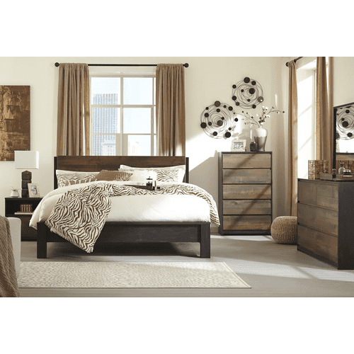 Windlore- Dark Brown- Dresser, Mirror, Chest, Nightstand & King Panel Bed