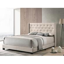 Beige Upholstered Bed - Queen