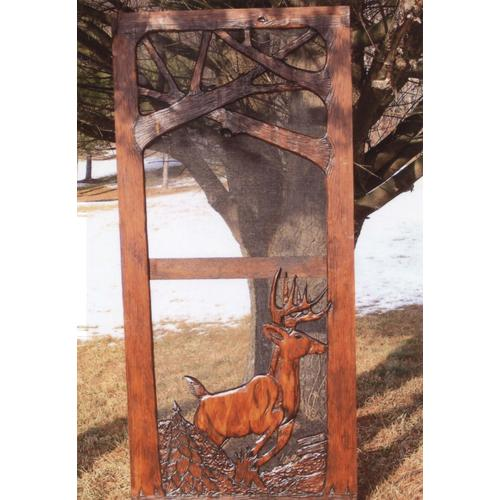 Handmade rustic wooden screen door featuring a buck and forest theme.