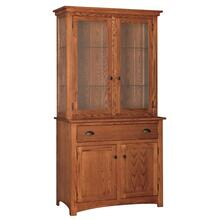 Transitional 2 Door China Hutch Touch Lighting