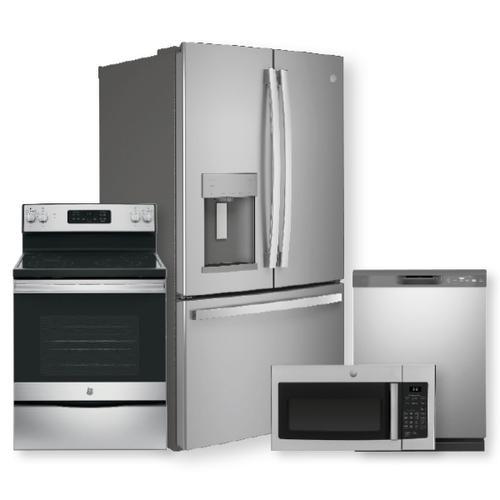 GE 27.7 Cu. Ft. Fingerprint Resistant French-Door Refrigerator & Electric Range Package- Open Box
