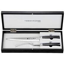 Tamahagane SAN Kyoto Damascus Steel with Black Mikarta Handle 2-Pc Carving Set in Wooden Case