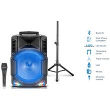Bomba15PKG Bluetooth Rechargeable Speaker with Tripod and Wireless Microphone