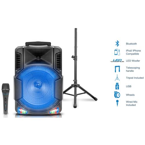 Technical Pro - Bomba15PKG Bluetooth Rechargeable Speaker with Tripod and Wireless Microphone
