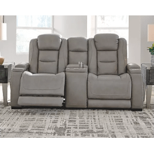The Man-den Power Reclining Loveseat With Console, Lumbar & Headrest