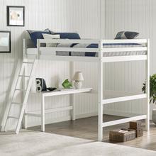 Glendale Full Size Loft Bed with Desk White