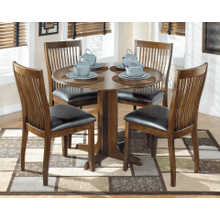 Stuman - Medium Brown - 5 Pc. - Round Drop Leaf Table & 4 Side Chairs