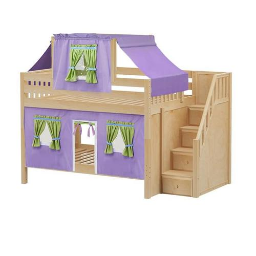 Low Bunk Bed with Staircase on End, Top Tent & Curtain In Natural Finish