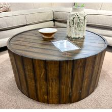 View Product - Reclaimed Wood Round Cocktail Table on Casters
