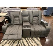 Dual Glider Console Loveseat- Grey