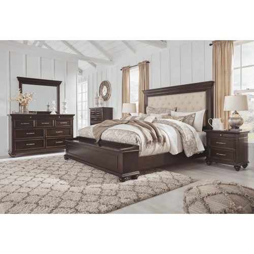 Brynhurst - Dark Brown - 7 Pc. - Dresser, Mirror, Chest, Nightstand & King Upholstered Bed with Footboard Storage