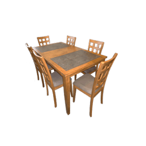 Slate Tile Rectangular Extension Table  with Butterfly Leaf and Cushion Chairs