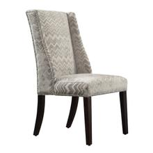 Grey Chevron Print Fabric Wingback with Nailhead Dining Chair