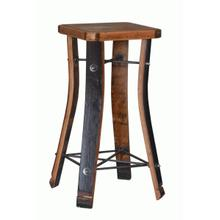 Made from real, reclaimed oak wine barrel staves. Raw welded steel framework and footrests. Various custom finishes are availablee, but each piece will have its own unique markings and wine stains. Handcrafted in the USA.