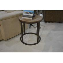 IFD small round wood top metal base end table.