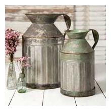 Set of 2 Metal Milk Jugs