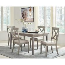 Parellen - Gray - 5 Pc. - Rectangular Table & 4 Upholstered Side Chairs