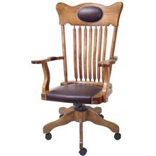 Bankers Leather Office Desk Chair Solid Oak