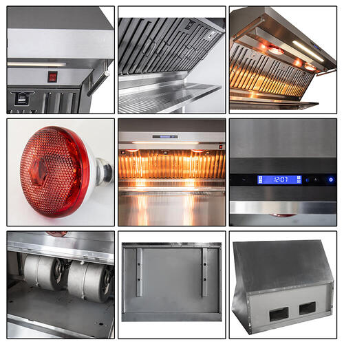 "36"" Range Hood With Red Light Warmers / Shelf / Back Splash Hybrid Filters, All Stainless Steel"