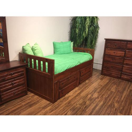 "Twin Captains Bed W"" 4 Drawers Cocoa"