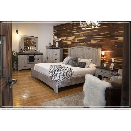 Pueblo California King Bed Gray