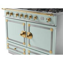 View Product - CornuFe 110 Induction Range - Suzanne Kazler Couleurs - Tapestry with Stainless Steel and Polished Brass Trim