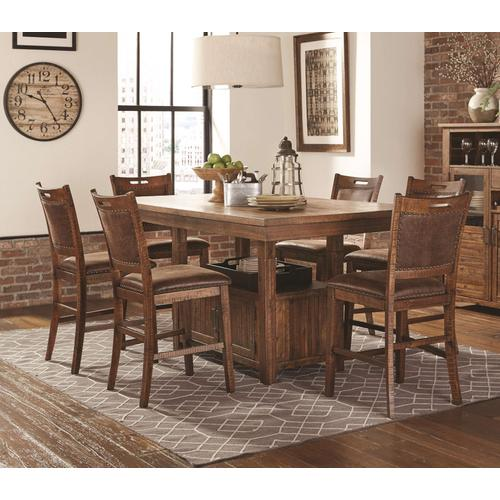 LIFESTYLE C1842P-PTX - C1842P-PP2PUXDBX Jeff Rustic Counter Height 7-Piece Dinette - Pub Table & 6 Chairs
