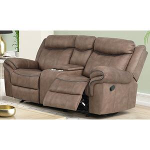 Harley Light Brown Loveseat with Dual Recliners and Console