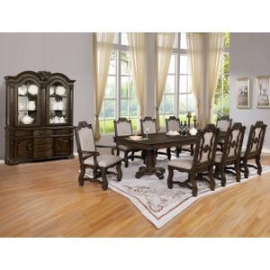 Crown Mark 2420 Neo Renaaissance 9PC Dark Oak Dining Table