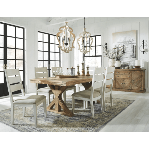 Grindleburg - Light Brown - 7 Pc. - Rectangular Table & 6 Side Chairs