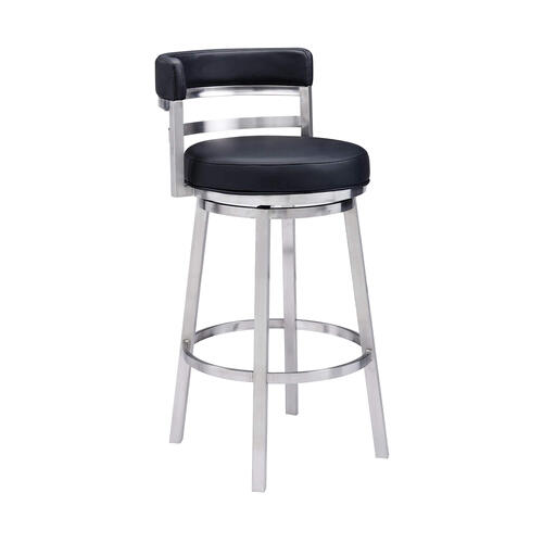 """Ronny"" Style Swivel Stool in Brushed Stainless Steel"