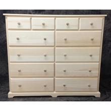 Maine Made Traditional 12 Drawer Dresser 54W X 45H X 18D Pine Unfinished