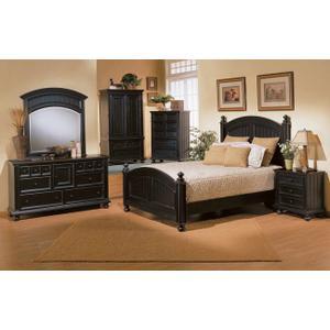 Cape Cod Ebony Queen Panel Bed
