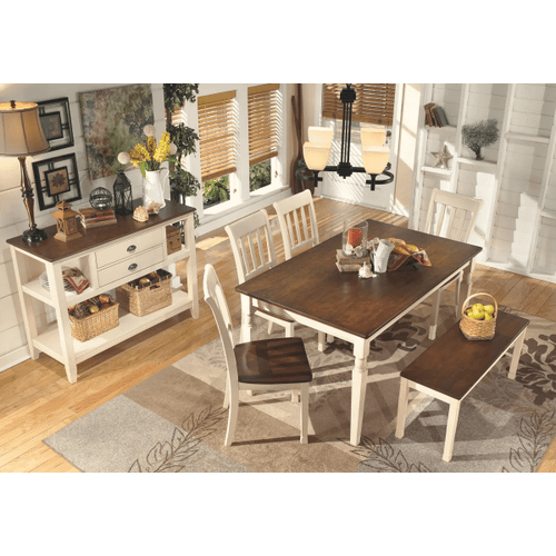Whitesburg - Brown/Cottage White - 6 Pc - Rectangular Table, 4 Side Chairs & Bench
