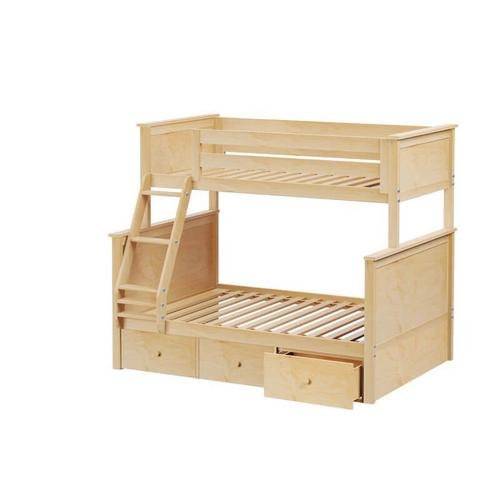Jackpot Kent Twin/Full Bunk   3 Drawer Storage In Natural Finish