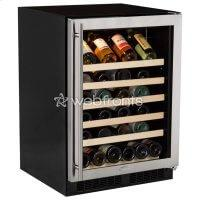 """Ensure optimum wine preservation and energy efficiency while maximizing capacity in the Marvel 24"""" Single Zone Wine Refrigerator  Ensure optimum wine preservation while maximizing capacity in the Marvel 24"""" Single Zone Wine Refrigerator, a 45-bottle wine storage solution. Unlike most wine coolers, Marvel wine refrigerators are engineered to defend against the enemies of wine, like damaging light, temperature fluctuation and vibration. The tinted dual pane UV-resistant glass door protects wine from light while artfully showcasing your wine collection. Its Vibration Neutralization System buffers wine from agitation, allowing it to come to full maturation. Dynamic Cooling Technology and a thermal-efficient cabinet ensures the industry's best temperature stability, safely bringing wine to temperature without compromising its integrity."""