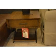 View Product - Single drawer wooden end table with metal crossed legs