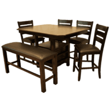 Walnut Veneer Top Two Tone Pub Height Dining Set