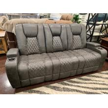 View Product - Reclining Sofa with Table and Light- Grey