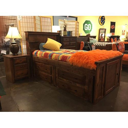 """Twin Captains Bed W"""" 4 Drawers American Chestnut"""