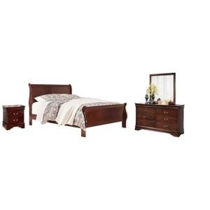Ashley Furniture - Queen Sleigh Bed With Mirrored Dresser and Nightstand