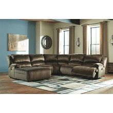 Clonmel - Chocolate - 1 Power Recliner 1 Manual Recliner 1 Power Chaise Sectional
