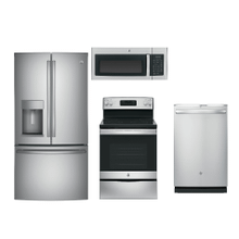 GE 4 PIECE KITCHEN PACKAGE IN STAINLESS & SLATE