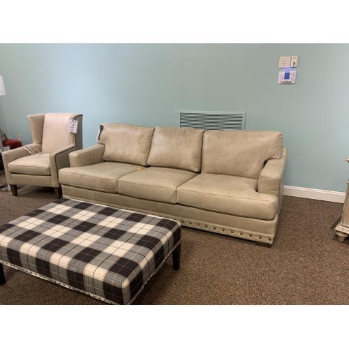 Bermuda Riff Leather Sofa with Nailhead Trim