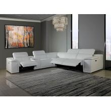 See Details - 9762 - Genuine Italian Leather - White 6-Piece Sectional (3 Power Reclining and Console)