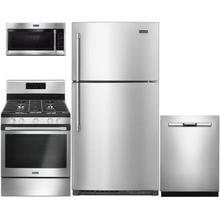 """View Product - 4-Piece Kitchen Appliances Package with  33"""" Top Freezer Refrigerator,  30"""" Freestanding Gas Range,  24"""" Built in Dishwasher and  30"""" Over-the-Range Microwave in Stainless Steel"""